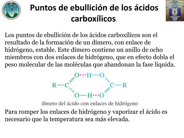 Puntos de ebullición de los ácidos carboxílicos
