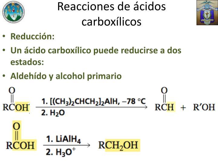 Reacciones de ácidos carboxílicos