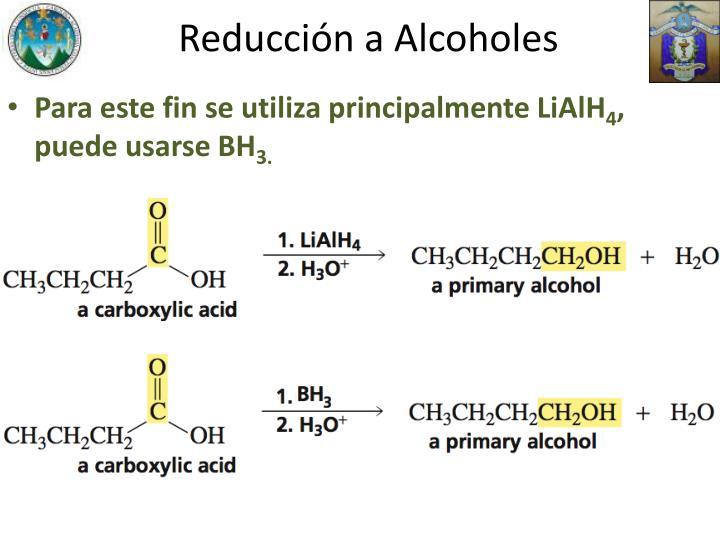Reducción a Alcoholes