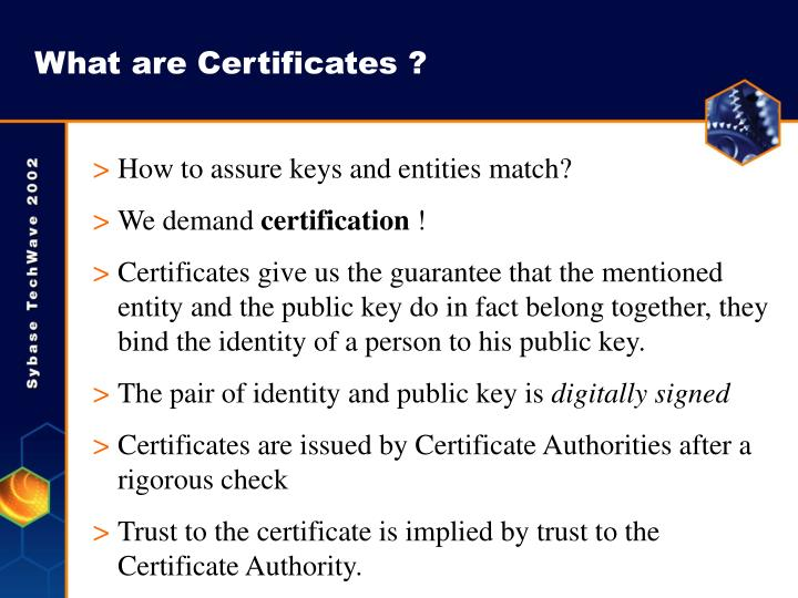 What are Certificates ?