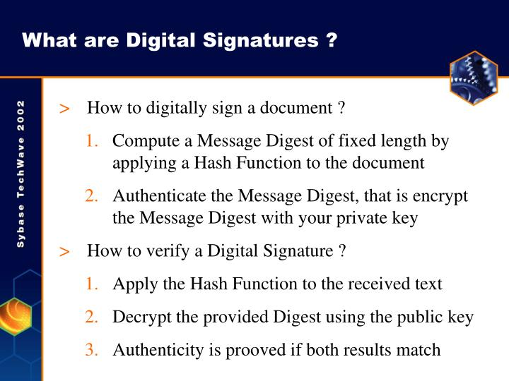 What are Digital Signatures ?