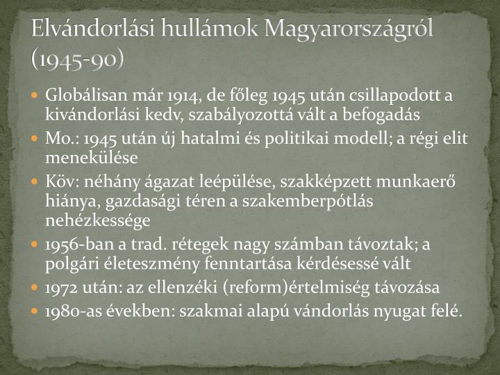 Elvándorlási hullámok Magyarországról (1945-90)