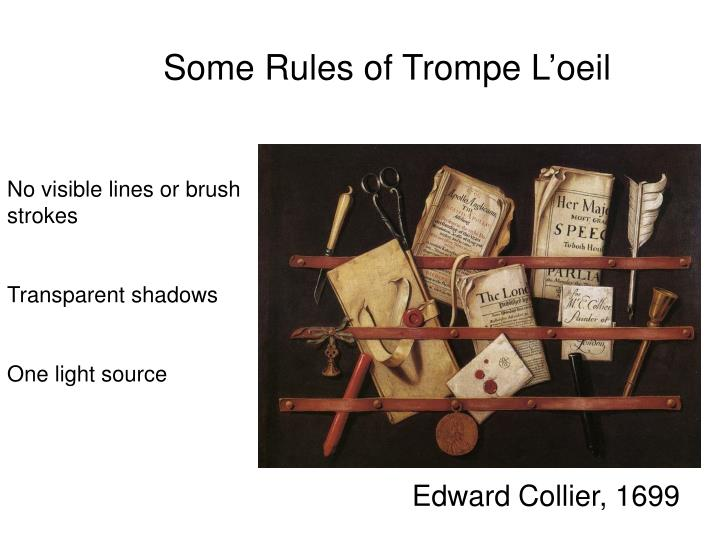Some Rules of Trompe L'oeil