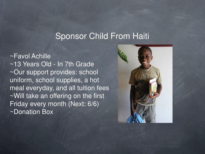 Sponsor Child From Haiti