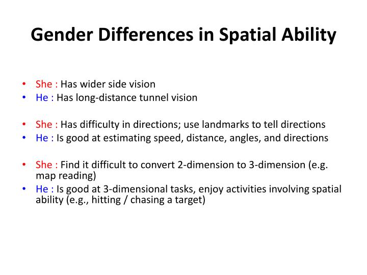 Gender Differences in Spatial Ability
