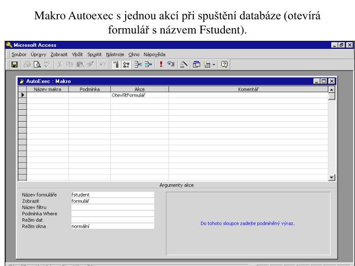 Makro Autoexec sjednou akcí při spuštění databáze (otevírá formulář snázvem Fstudent).