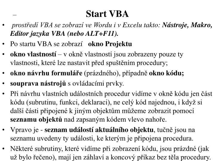Start VBA