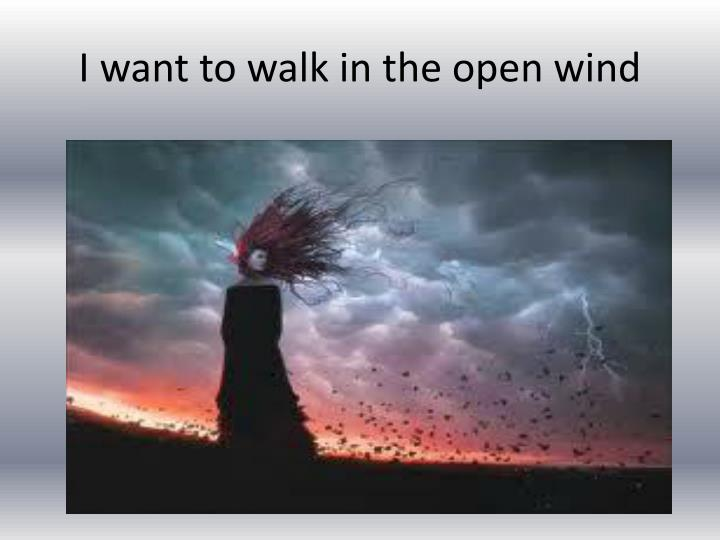 I want to walk in the open wind
