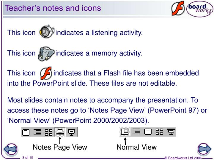 Teacher s notes and icons