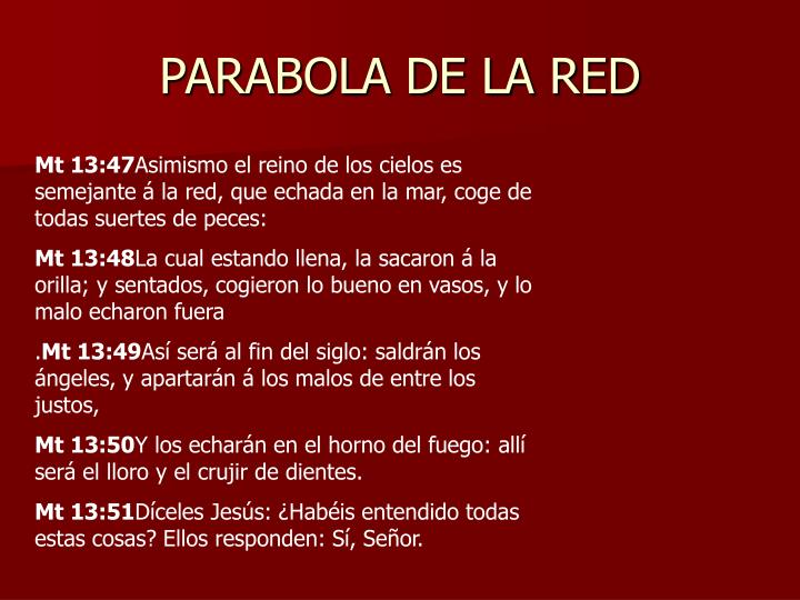 PARABOLA DE LA RED