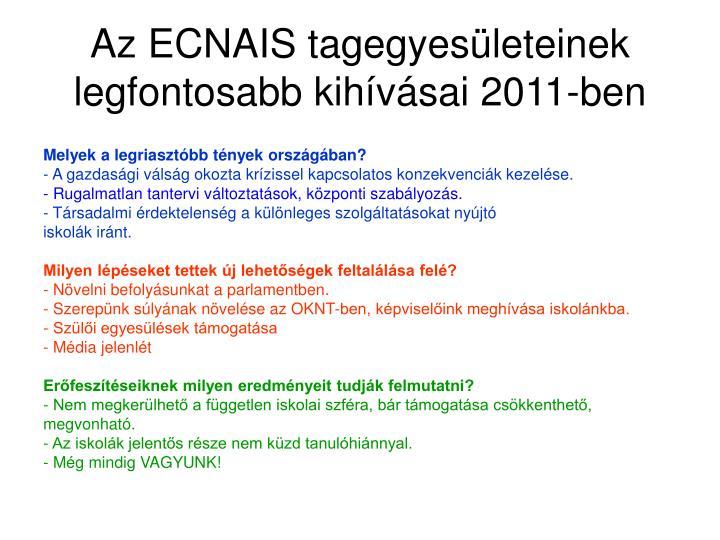 Az ECNAIS tagegyesületeinek legfontosabb kihívásai 2011-ben