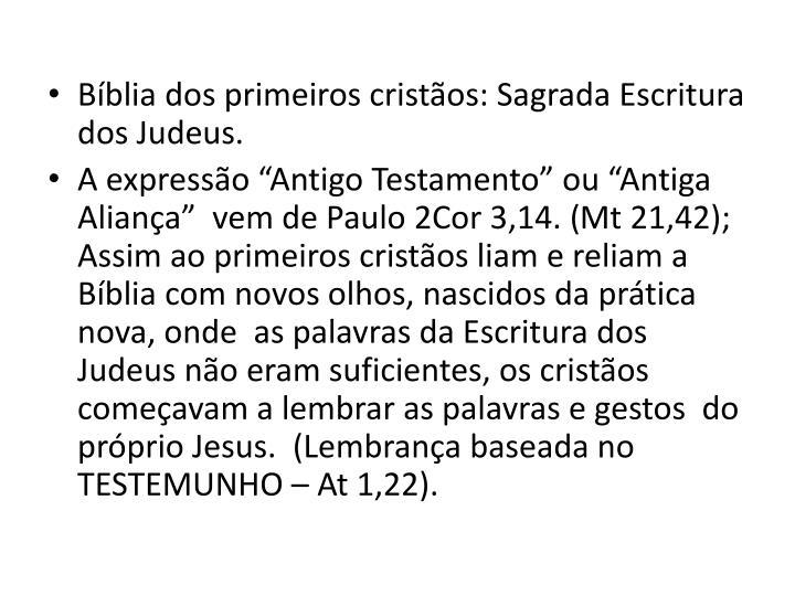 Bblia dos primeiros cristos: Sagrada Escritura dos Judeus.