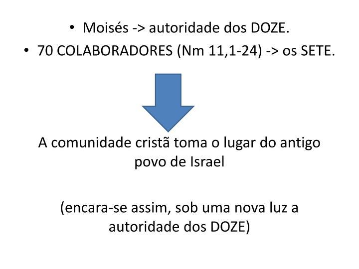 Moiss -> autoridade dos DOZE.
