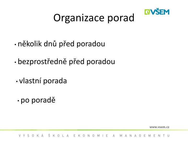 Organizace porad