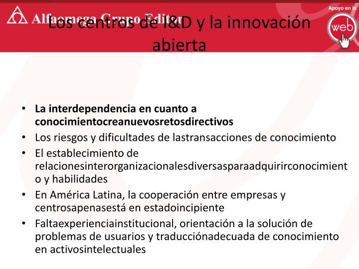 Los centros de I&D y la innovación abierta