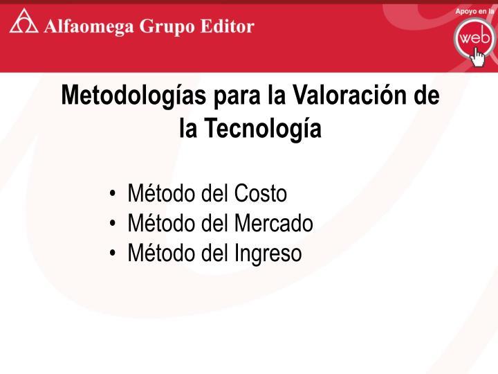 Metodologías para la Valoración de la Tecnología