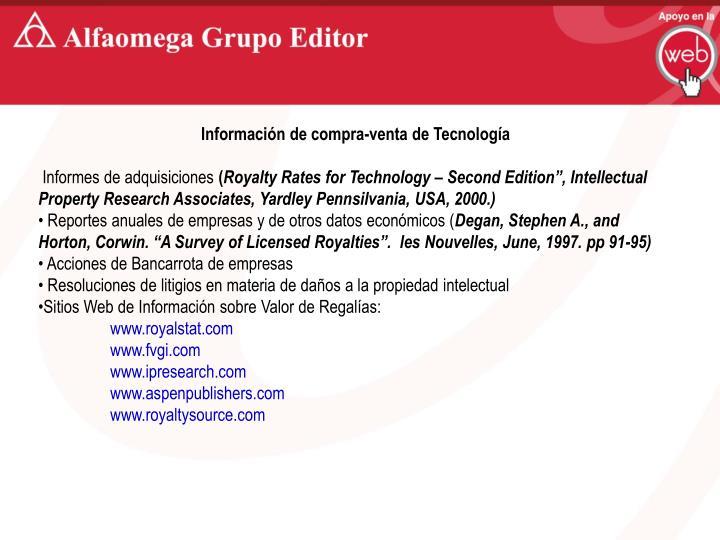 Información de compra-venta de Tecnología