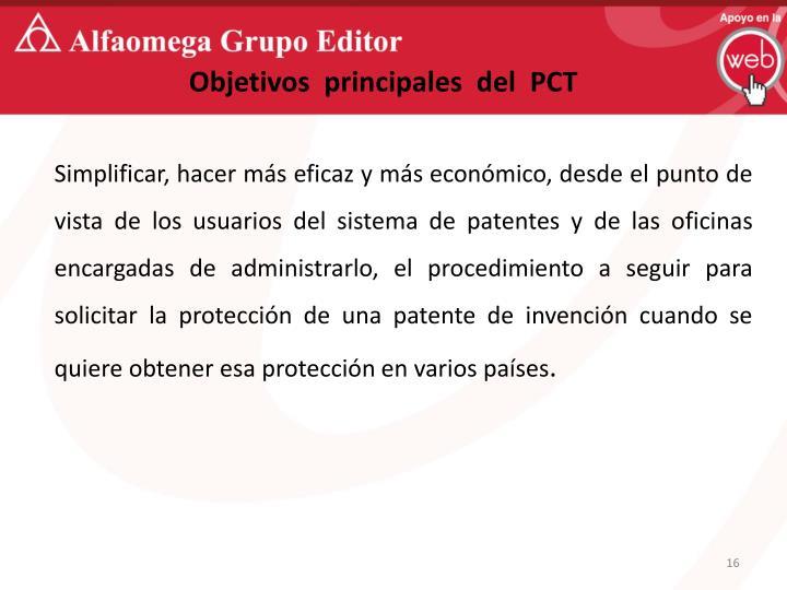 Objetivos  principales  del  PCT