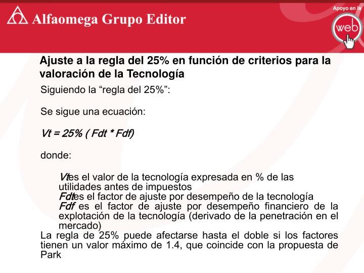 Ajuste a la regla del 25% en función de criterios para la valoración de la Tecnología