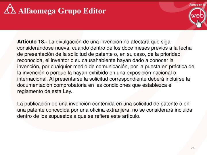 Artículo 18.-