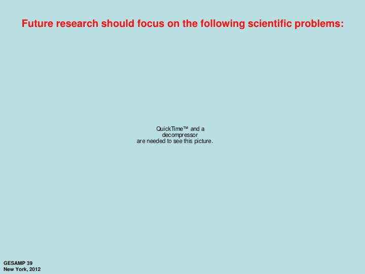 Future research should focus on the following scientific problems: