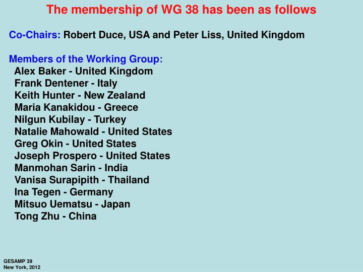The membership of WG 38 has been as follows