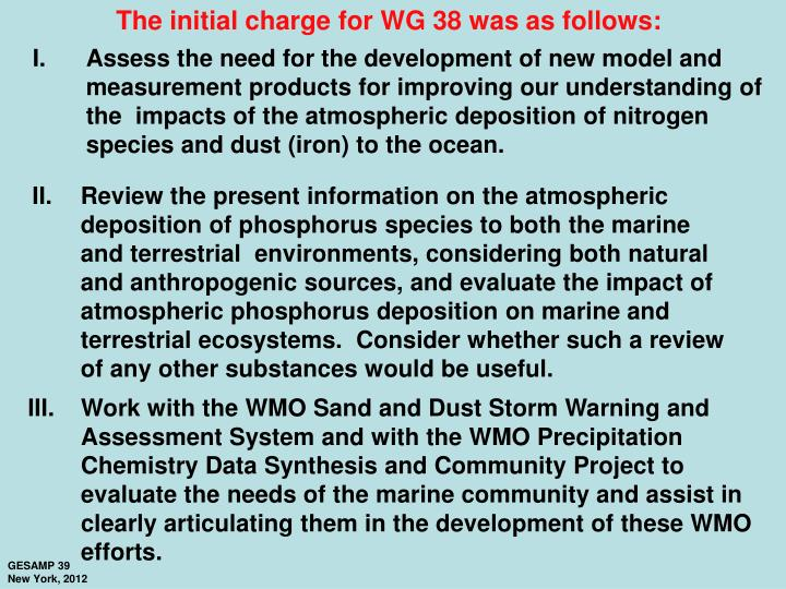 The initial charge for WG 38 was as follows: