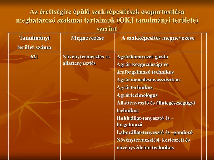 Az rettsgire pl szakkpestsek csoportostsa meghatroz szakmai tartalmuk (OKJ tanulmnyi terlete) szerint