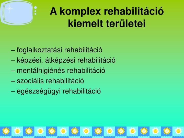 A komplex rehabilitáció kiemelt területei