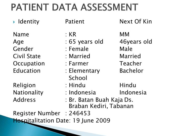 PATIENT DATA ASSESSMENT