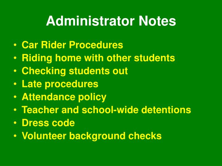 Administrator Notes