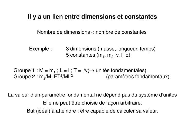 Il y a un lien entre dimensions et constantes