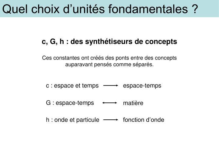 Quel choix d'unités fondamentales ?