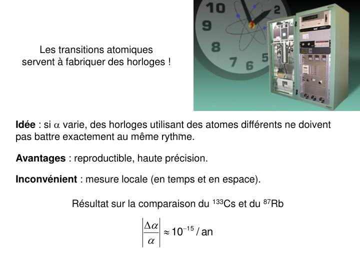 Les transitions atomiques