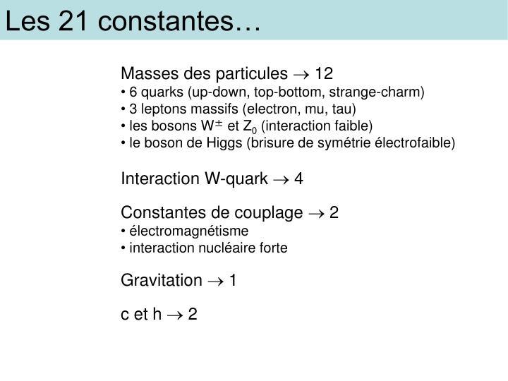 Les 21 constantes…