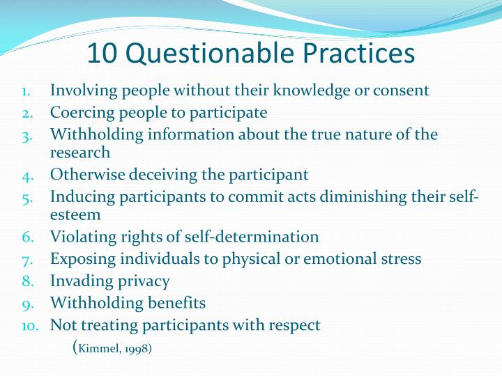 10 Questionable Practices