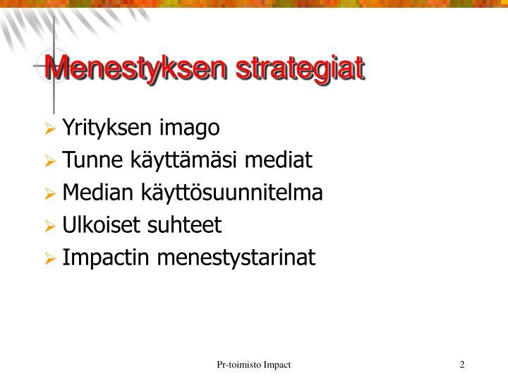 Menestyksen strategiat