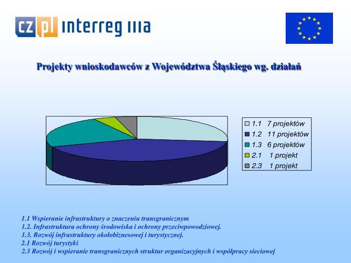 Projekty wnioskodawców z Województwa Śląskiego wg. działań