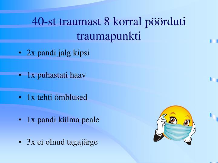40-st traumast 8 korral pöörduti traumapunkti
