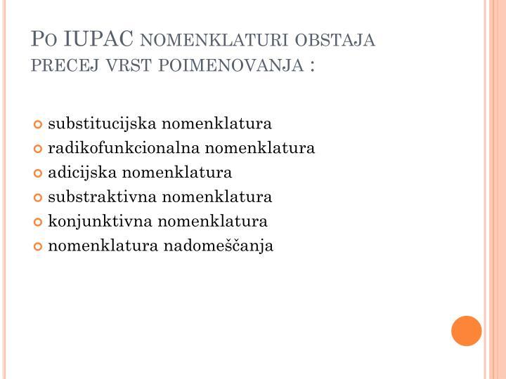 Po IUPAC nomenklaturi obstaja precej vrst poimenovanja :