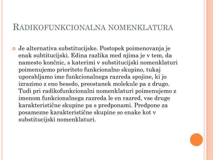Radikofunkcionalna nomenklatura