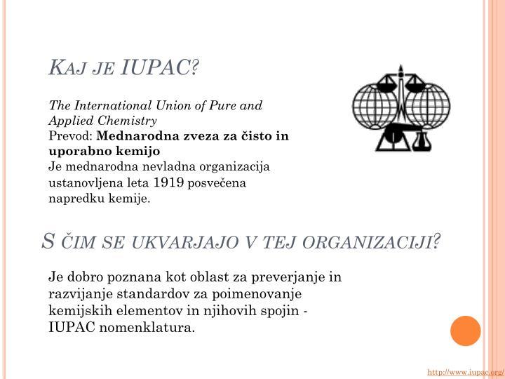 Kaj je IUPAC?
