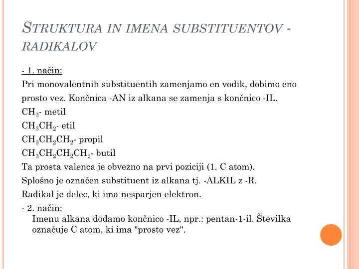 Struktura in imena substituentov - radikalov