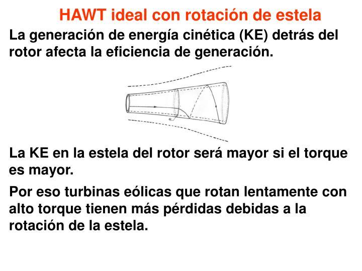 HAWT ideal con rotación de estela