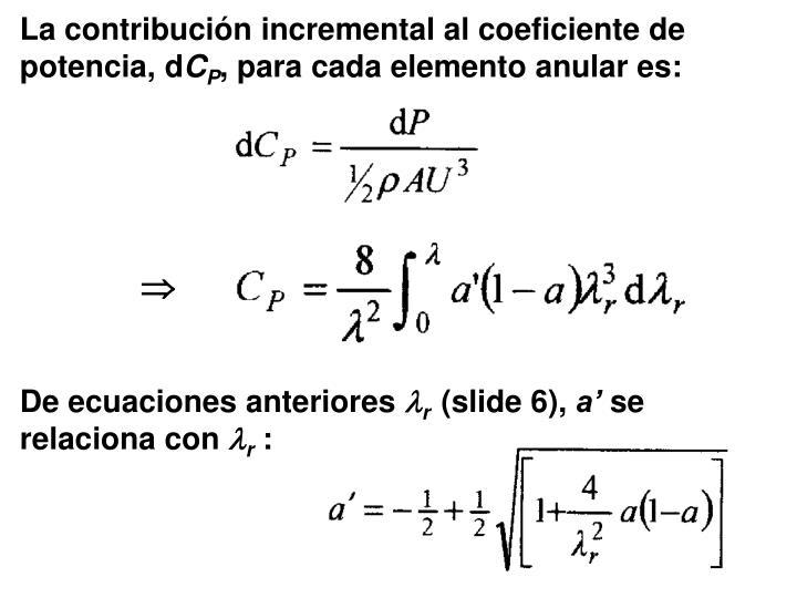 La contribución incremental al coeficiente de potencia, d