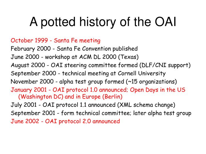 A potted history of the OAI