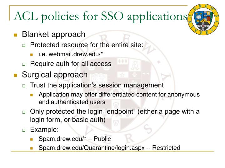 ACL policies for SSO applications