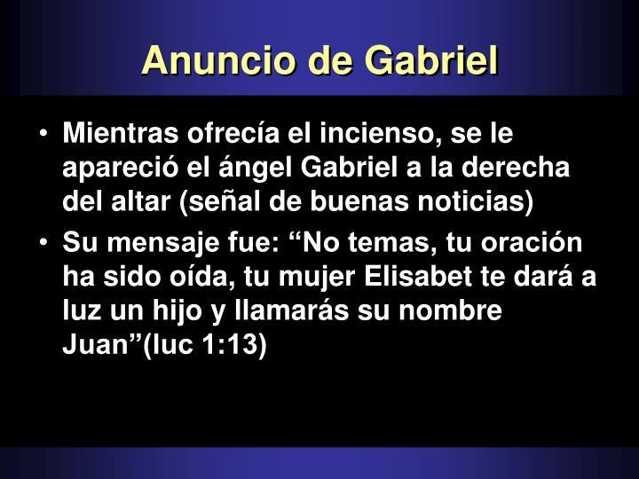 Anuncio de Gabriel
