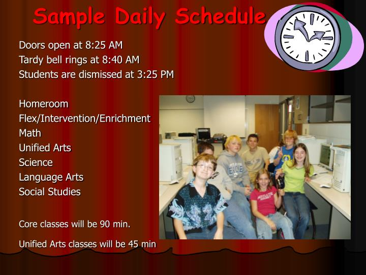Sample daily schedule