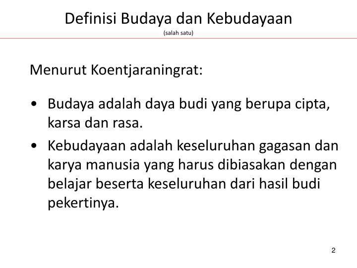 Definisi Budaya dan Kebudayaan